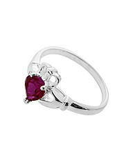 Silver Created Ruby Claddagh Heart Ring