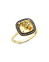 9ct Gold Black Diamond and Citrine Ring