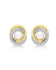 9ct Gold CZ and Pearl Crossover Earrings