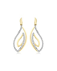 9ct Gold Diamond Swirl Drop Earrings