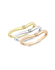 9ct Gold 3 Colour Diamond Ring Set