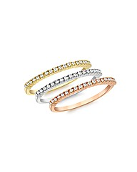 9ct 3 colour Diamond Eternity Rings
