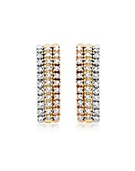 9ct 3 Colour Gold Diamond 3 Row Earrings