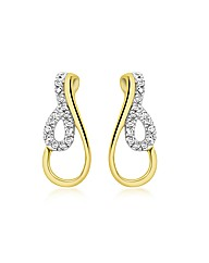 9ct Gold Diamond Twist Drop Earrings