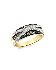 9ct Gold Brown and White Diamond Ring