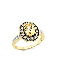 Gold Brown+White Diamond Citrine ring