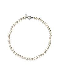 Alan Hannah Crystal Clasp Pearl Necklace