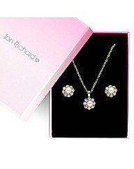 Jon Richard Crystal Pearl Flower Set