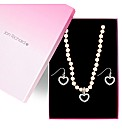Jon Richard Pearl Crystal Heart Set