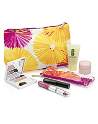 Clinique Yellow and Pink Flower Bag Set