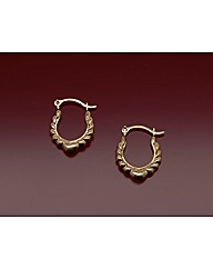9ct Gold Heart and Wing Creole Earrings