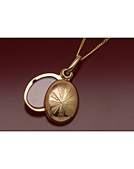 9ct Gold Oval Stripe Locket Necklace
