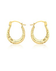 9ct Gold Mini Groove Creole Earrings