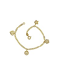 9ct Four Charm Bracelet 7in