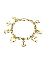 9ct Gold Eight Charm Bracelet 7in