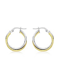 9ct Gold 2 Tone Tube Crossover Earrings