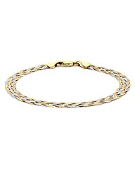 9ct Gold 3 Tone Plaited Hbone Bracelet