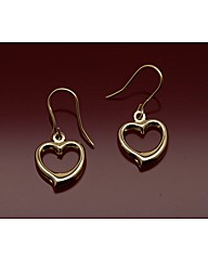 9ct Gold Open Heart Drop Earrings