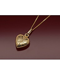9ct Gold Heart Striped Locket Necklace