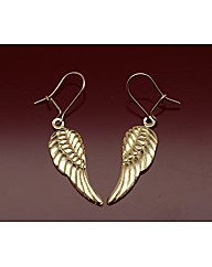 9ct Gold Angel Wing Drop Earrings