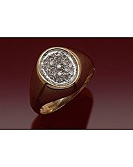 9ct Gold Pave Set Gents Diamond Ring