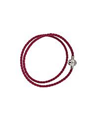Pink Plaited Leather Bracelet