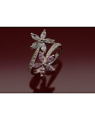 Sterling Silver cz Two Flower Ring