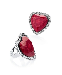 Adjustable Red & Crystal Stone Set Ring