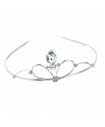 Shiny Silver Crystal Metal Tiara
