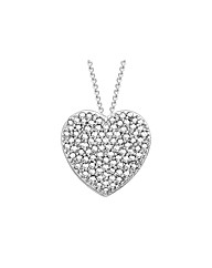 9ct White Gold & Diam Heart Slider Neck