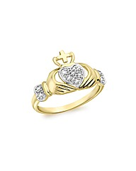 9ct GoldDiamond Five Point Claddagh Ring