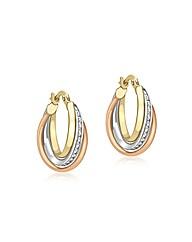 9CT 3 Colour Gold  Hoop Earrings