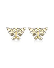 9CT Yellow & White Butterfly Earrings