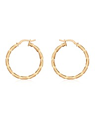 9CT Red Gold Flat Twist Creole Earrings
