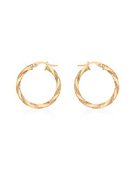9CT Red Gold Small Twist Creole Earrings