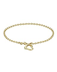 9CT Yellow Gold Heart Bracelet