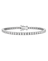 9CT White Gold Round  Tennis Bracelet