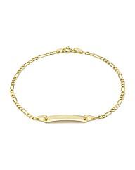 9CT Yellow Gold Figaro ID Bracelet