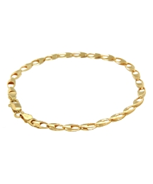 9ct Gold Oval Hollow Link Bracelet 7in
