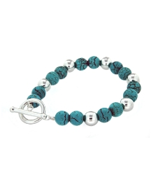 Sterling Silver and Turq Ball Bracelet