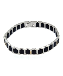 Gents Interlink Black and Steel Bracelet