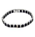 Gents Interlink Black and Steel Bracelet