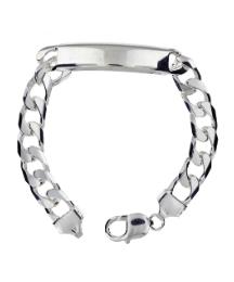 Sterling Silver Wide Curb ID Bracelet