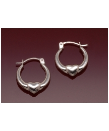 9ct White Mini Heart Creole Earrings