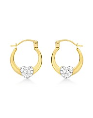 9ct Gold Crystalique Heart Earrings