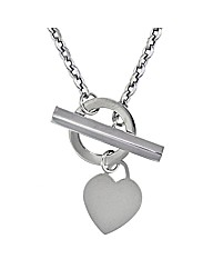 9ct White Gold Plain Heart TBar Necklace