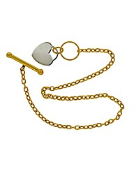 9ct Gold Two Tone Heart T Bar Bracelet