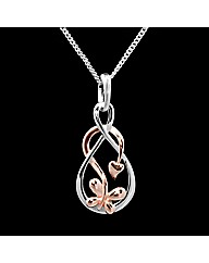 Silver Rose Gold Butterfly Loop Pendant