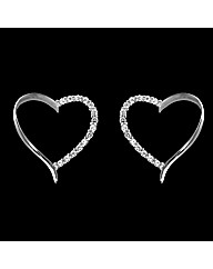 Silver and Cubic Zirconia Heart Earrings