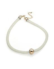 White Bead Tube Ball Necklace
